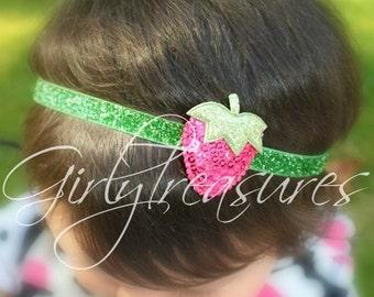 Strawberry Headband. Newborn Headband. Baby Headband. Girl Headband. Photo Prop. Glitter Headband.