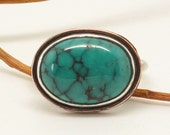 Oval side set Arizona Turquoise with copper ring choose your size