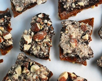 Salted almond chocolate buttercrunch toffee