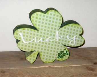 St. Patrick's Day solid wood shamrock