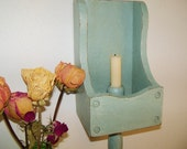 Upcycled Vintage Grain Scoop Candle Sconce, Hand Painted in Annie Sloan's 'Duck Egg Blue' Chalk Paint