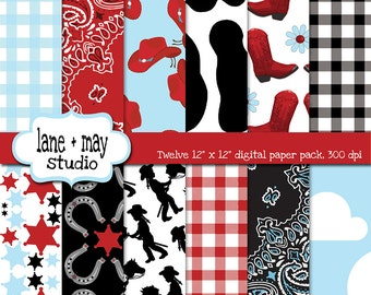digital scrapbook papers - red, blue and black cowgirl theme patterns - INSTANT DOWNLOAD