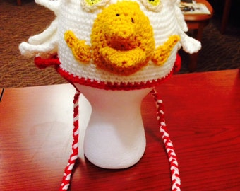 Unique Crocheted Eagle Hat with Ear Flaps