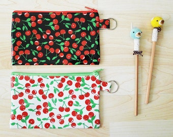 Large Black or  White CHERRY Printed PVC zipper pencil case,with silver ring, cosmetic bag, snack bag, rectangle shaped, waterproof - CHERRY