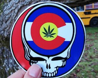 Colorado State Pot Leaf Steal Your Face Colorado Marijuana Legalized High Quality Vinyl Sticker