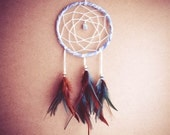 Dream Catcher - Close to the Nature - With Small Gemstone and Turquoise and Brown Feathers - Home Decor, Mobile - bohonest