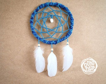 Dream Catcher - With Natural White Feathers, Blue Frame and Web - Boho Home Decor, Hippie Nursery Mobile