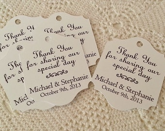 Simple Scroll - Wedding Favor Thank You Tags - Personalized - Bridal Shower - Baby Shower - Custom Quantities are Available