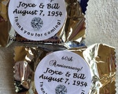 120 Diamond Wedding Anniversary Sticker Favors for Your York Peppermint Patty/Patties Candy. PERSONALIZED STICKERS to make party favors