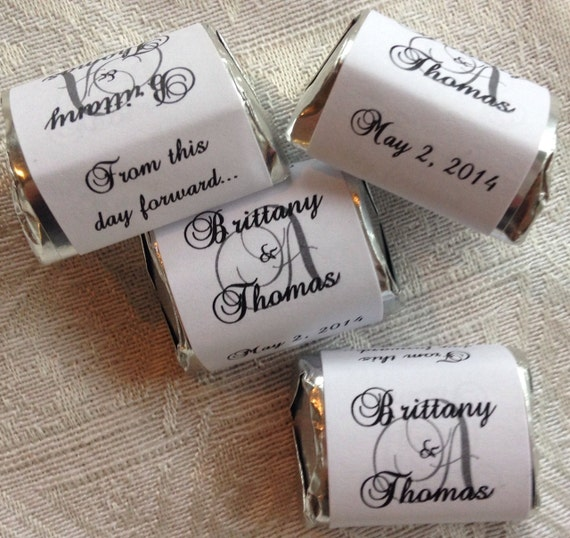 300 MONOGRAM Hershey Nugget Wedding or Party wrappers/stickers/labels (Personalized Favors) for any party/event