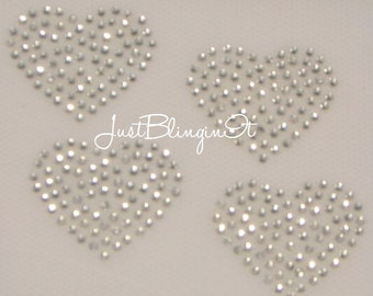 Mini Heart Set of 4 Iron On Rhinestone Transfer