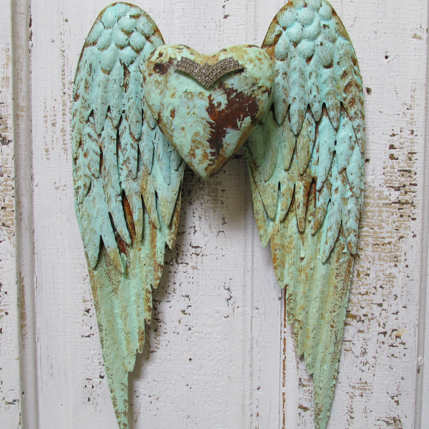 Decorative Wall Hanging Angel Wings : Angel wings wall decor with heart shabby chic by