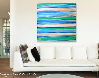HUGE 36 x 36 Original Abstract Painting Modern Contemporary Art - Blue, Green, Grey, Pink Stripes - Large Square Canvas: Unwind - FREE SHIP