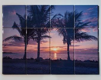 Ceramic Tile Mural, Miami Palms Sunrise Design, Kitchen Backsplash, Decorative Bathroom Tile Bathrooms, Wall Décor, Wall Hanging