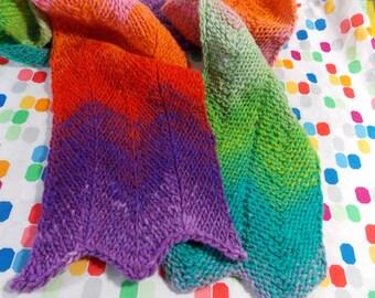 Chevron stripes knit scarf - wool scarf - colorful scarf - Warm scarf - Unique (SC24)