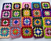 20 Crochet Granny Square Multicolor  / DIY / Handmade  /  No.  TS37