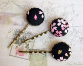Japanese Fabric hair pin Black hair Jewelry Floral button bobby pins hairstyles fancy