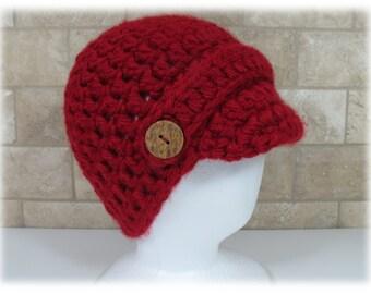Crocheted Newsboy Hat in Burgundy Chunky Yarn