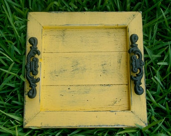 Decorative / Serving Tray - Mustard Distressed