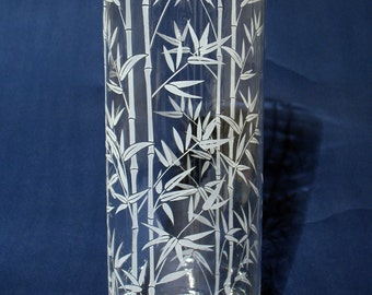"""Etched """"Bamboo"""" Vase"""