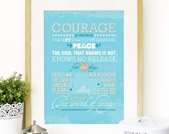 Amelia Earhart Quote Poster Typography Art in Orange - Amelia Earhart A3 poster size print - inspirational quote from Amelia Earhart