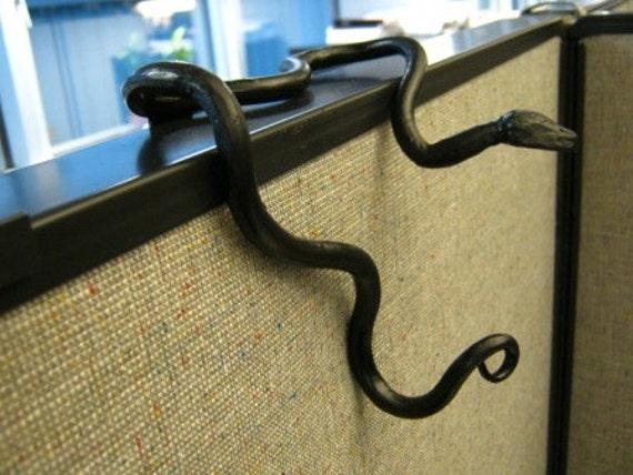 cubicle squirmy metal hand forged serpentine snake coat hook for office divider cubicle partition black black modern metal hanging office cubicle