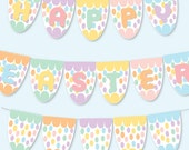 Happy Easter Bunting Banner, Printable Pastel Eggs, Digital, Party Decoration, Easter Eggs, DIY