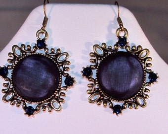 Blue and Antique Gold Earrings