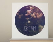 Dream Circle Print, Pink Roses Photo, Dream Typography, Dreamy, Dark Home Decor, Pink and Navy Color Fine Art Photography Wall Print