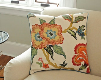 Schumacher Hothouse Flower Pillow with Teal Piping