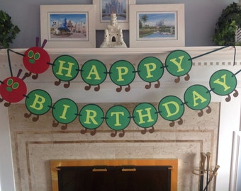 Very Hungry Caterpillar Happy Birthday Banner