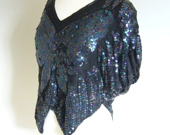 Vintage Black SILK TROPHY BLOUSE with Black Beads and Sequins/size xs-small-medium