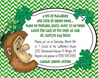 St Patrick's Day Party Invite- green chevron