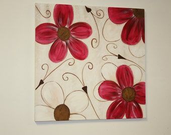 Floral painting on canvas in acrylics