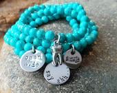 Dentist, Hygienist Hand Stamped Gemstone bracelet set - personalized turquoise gemstone stacking bracelets