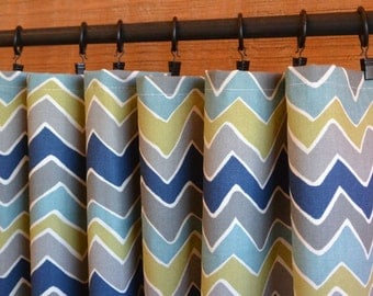 Designer Curtain Panels 24W or 50W x 63, 84, 90, 96 or 108L Seesaw Felix Blue Olive Natural shown