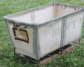 Vintage Industrial Canvas Bin - Shoe, Toy, or Firewood Storage