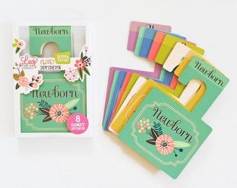 Nursery Closet Dividers- Artist - Floral closet dividers- Baby Closet Dividers- Baby Closet Organizer- Nursery Closet Organizer- Set of 8