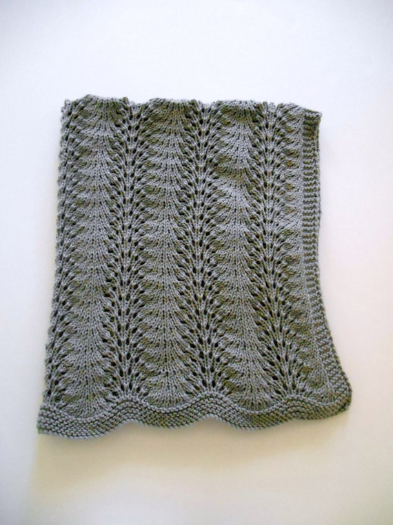 Easy Knit Lace Blanket : Baby Afghan Shawl Blanket Hand Knit Lace Gray Cotton Acrylic