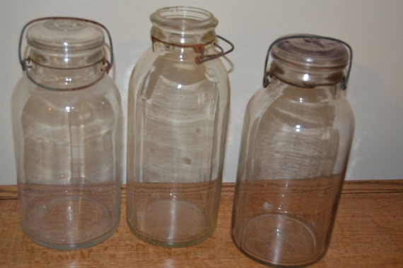 3 Half Gallon Antique Mason Jars W Bale Glass Lids Tf