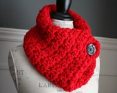 BRIGHT RED Cowl Neck Scarf with wooden button, crocheted