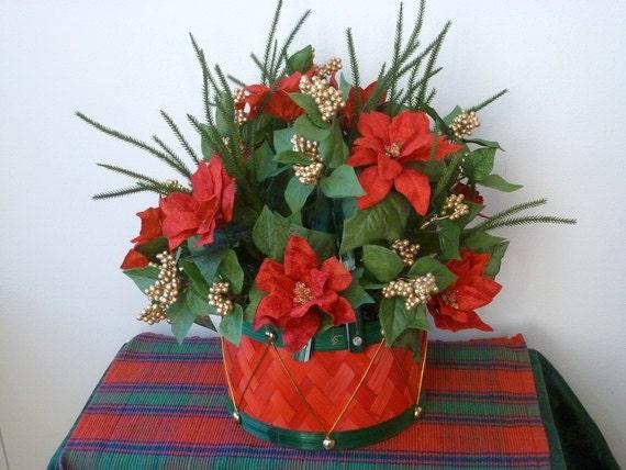 Christmas toy drum basket centerpiece poinsettias gold