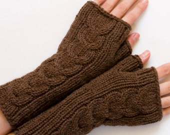 Alpaca Wool Cabled Fingerless Mittens, Brown Fingerless Gloves, Knit Hand Warmers, Arm Warmers