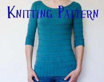 PDF Knitting Pattern - Sea Breeze Pullover, Sweater Knitting Pattern, Ladies Clothing Pattern, Top Down Knitting Pattern