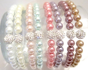 Pearl Bracelet. Pearl Bracelet Wedding. Pearl Bracelet Bridesmaid. Bridesmaid Gifts.