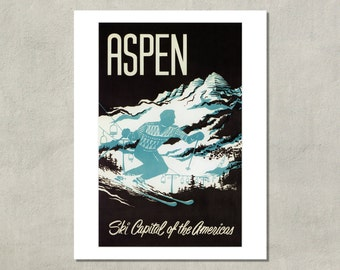 Aspen - Ski Capital Of The Americas - 8.5 x 11 Ski Print  -  Colorado Travel Print - also available in 11x14 and 13x19 - see listing details