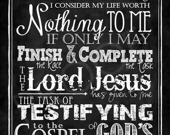 Scripture Chalkboard Art - Acts 20:24