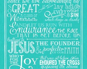 Chalkboard Art - Hebrews 12:1-2 Chalkboard Style
