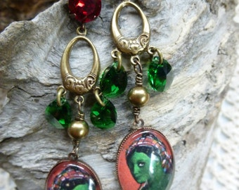 "Baroque and Oriental earrings, cabochon and Crystal ""The big day"""