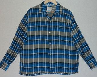 1950s Shirt / L / Gradation / Optical / Gene Vincent / Elvis / Rockabilly / Loop Collar / Striped / RnR / Stage / Rockabilly Shirt